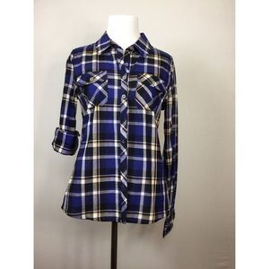 Finesse blue and gold plaid button down shirt